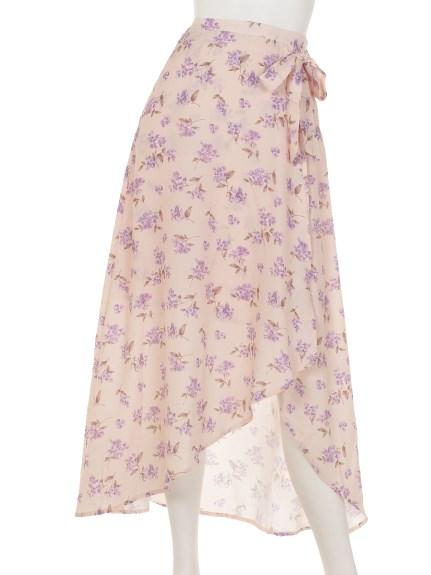 RoyalParty (ロイヤルパーティー) フロ-ラルプリントマキシスカート ピンク