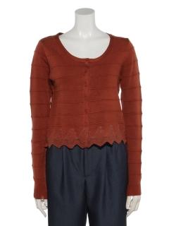 裾レースタック編みカーディガン