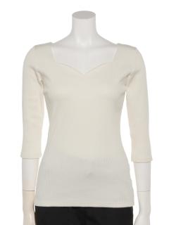 ハートネック7分袖Tシャツ