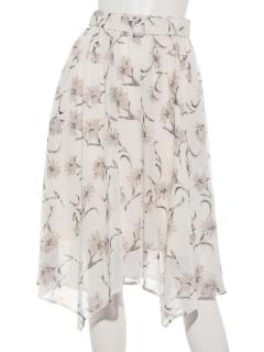 シフォン花柄イレギュラーヘムスカート