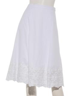 ストライプフレア刺繍スカート
