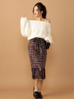 ロングフリンジカラーツィードスカート
