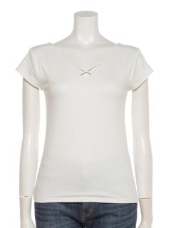 クロスネック半袖Tシャツ