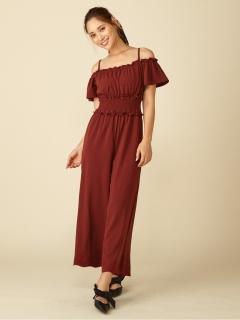 裾刺繍オフショルダーオールインワン