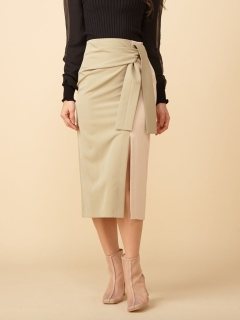バイカラーウエストマークタイトスカート