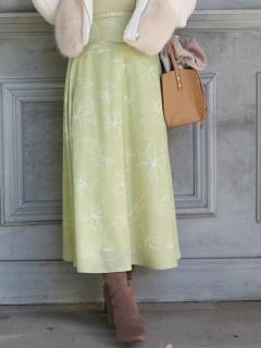 カラーラインフラワースカート