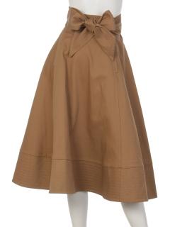 K裾ステッチベルト付フレアースカート