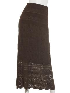 Kカギ編みロングスカート