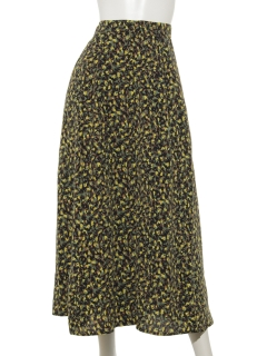 幾何柄釦付きフレアースカート