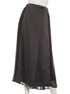 ロゴ柄切り替えスカート