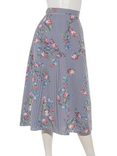 ストライプ花柄スカート