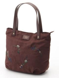 ちらし花刺繍丸型トート