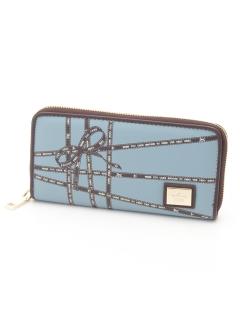 リボンテープ柄カードポケットたくさんラウンドファスナー財布