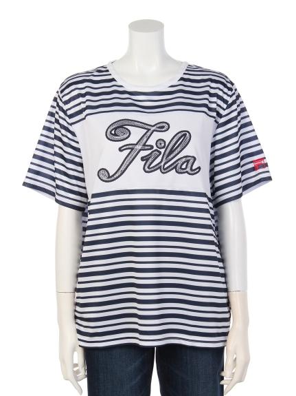 FILA (フィラ) チェーンロゴプリントTシャツ ボーダー