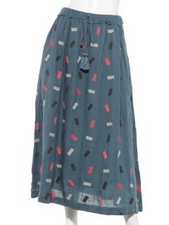 リネンブロック刺繍 スカート