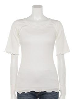 コットンピマテレコUネック5分袖Tシャツ