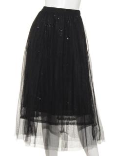 チュールスカート黒スパンコール