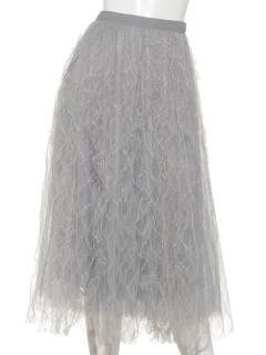ラメ糸フリルチュールスカート