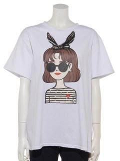 ボーダーリボンフェイスTシャツ
