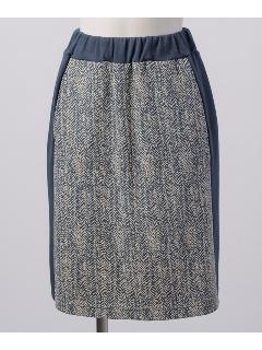 オーガニックコットン混ポンチ ヘリンボーン柄Aラインスカート