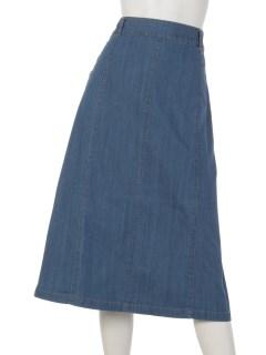 オーガニックコットン混ストレッチサイドボタンデニムスカート