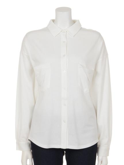 Innocent (イノセント) モダール/オーガニックコットンポケットアクセントシャツ オフホワイト