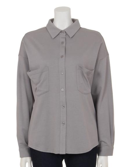 Innocent (イノセント) モダール/オーガニックコットンポケットアクセントシャツ ライトグレー