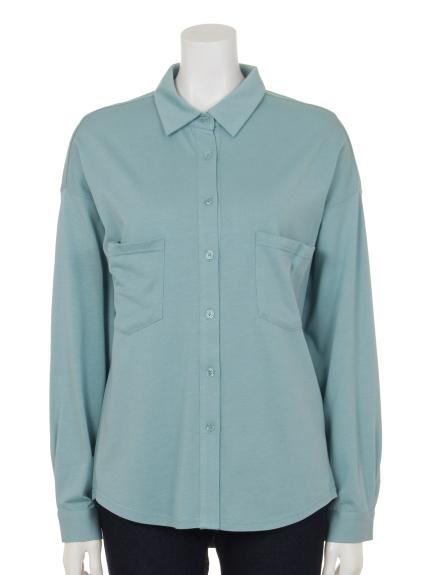Innocent (イノセント) モダール/オーガニックコットンポケットアクセントシャツ ミント