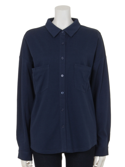 Innocent (イノセント) モダール/オーガニックコットンポケットアクセントシャツ ネイビー