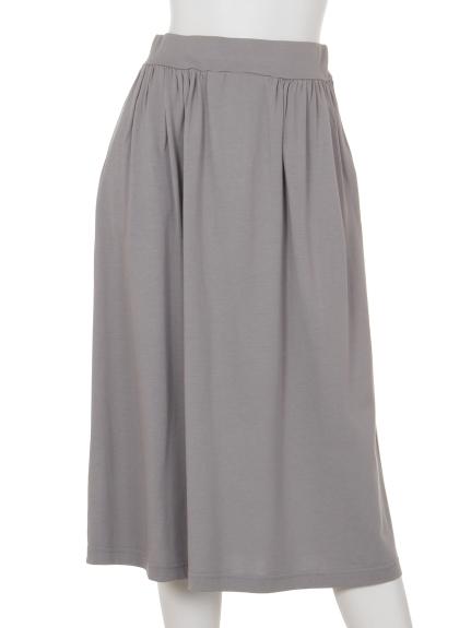 Innocent (イノセント) モダール/オーガニックコットンサイドギャザースカート ライトグレー