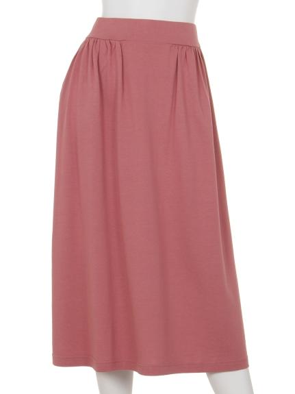 Innocent (イノセント) モダール/オーガニックコットンサイドギャザースカート チェリーピンク