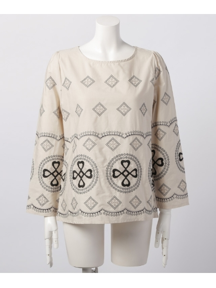 75%OFF Weaver (ウィーバー) レディース 刺繍布帛プルオーバー ベージュ M