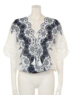 花柄サークル刺繍裾ゴムカシュクールブラウス