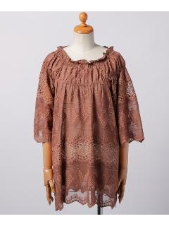 刺繍衿ぐりシャーリングチュニックワンピース