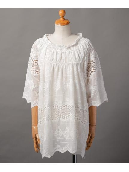 75%OFF Weaver (ウィーバー) レディース 刺繍衿ぐりシャーリングチュニックワンピース オフ M
