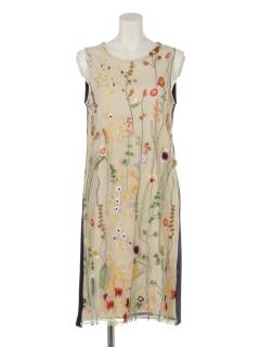 花柄チュール刺繍ノースリーブワンピース