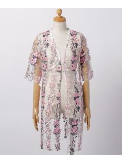 花柄刺繍5分袖カーディガン