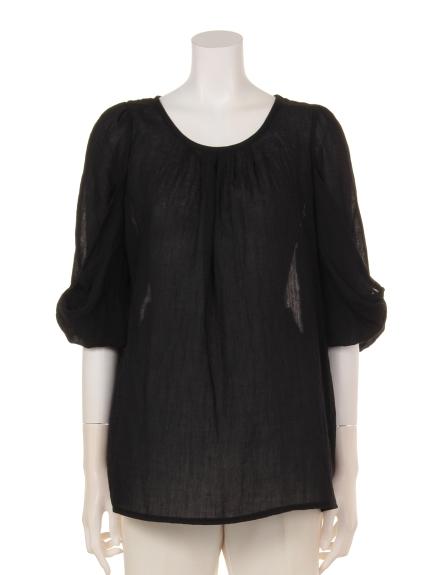 71%OFF Weaver (ウィーバー) 衿タック入り袖リボンブラウス ブラック