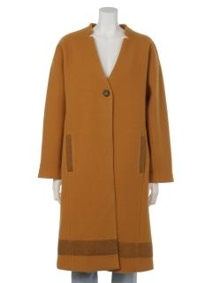 ノーカラー裾ラインロングコート