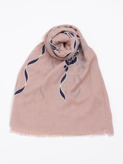 バラ×リボン刺繍ストール