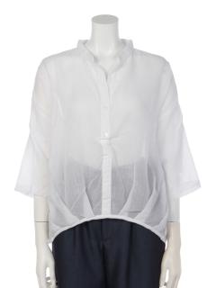 裾タック使いシャツブラウス
