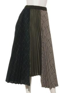 無地×チェックプリーツスカート