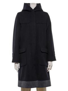 フード付裾配色コート
