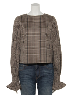 【Brown & Street】PuffSleeve Check Blouse