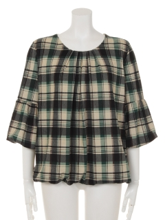 袖裾バルーンチェックプルオーバー