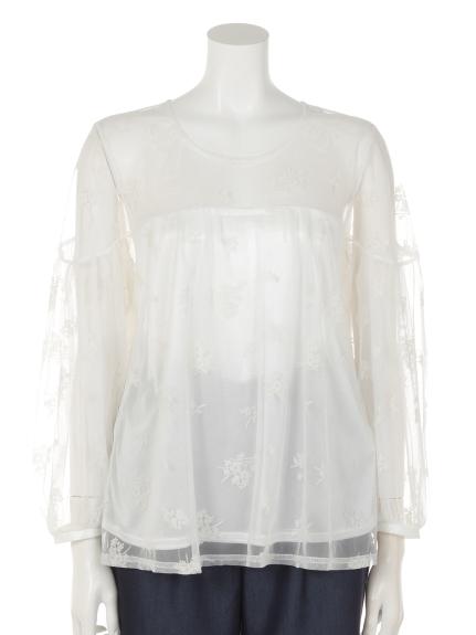 r・p・s (アールピーエス) フロッキーレースボリューム袖ブラウス オフホワイト2