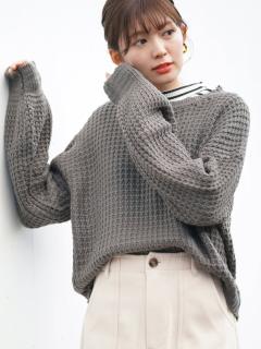 ボリューム袖ワッフル編みニットプルオーバー