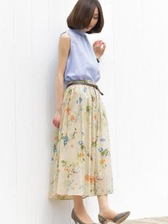 花柄コットンフレアースカート