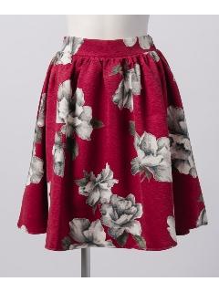 【Agneau7】花柄フレアスカート