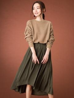 【Marie Hill】サテンヘムフレアスカート